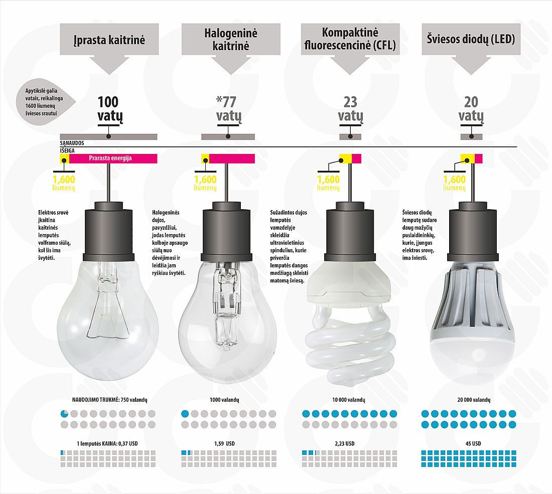 Led lemputes atitikmuo
